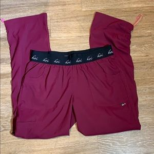 Koi burgundy scrub pants